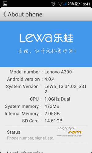 Title: LEWA A390 Listed: 11/13/2013 4:21 pm ROM Version: 02.04.13 S312