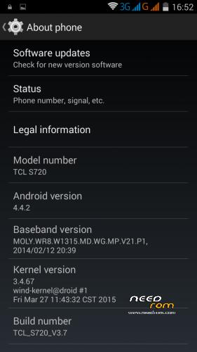 ROM AOSP 4 4 2 for TCL S720-Unicom/WCDMA (Rooted)   [Custom