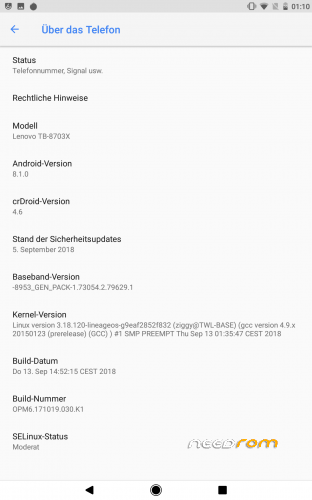 ROM crDroid 4 7 – Android 8 1 0 for Lenovo Tab3 8 Plus (Lenovo P8